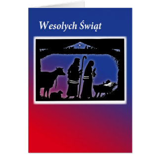 Polish Christmas Card, Manger Scene Greeting Card