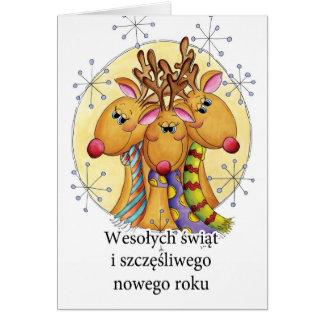 Polish Christmas Card - Reindeer - Wesołych świąt