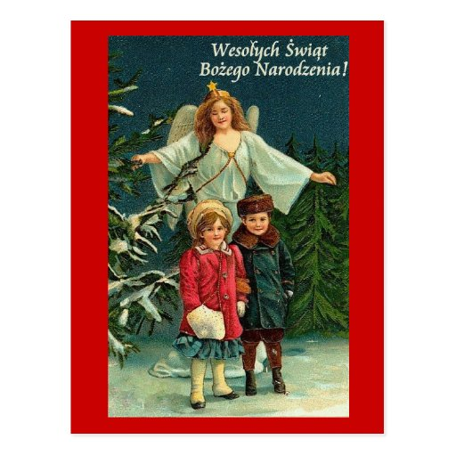POLISH CHRISTMAS CARD WITH ANGELS and CHILDREN Post Cards