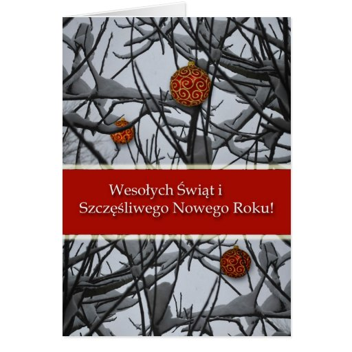 Polish Christmas, Ornaments in Snow Cards