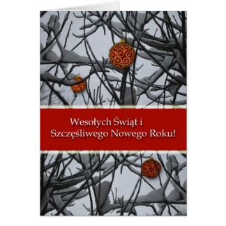 Polish Christmas, Ornaments in Snow Greeting Card