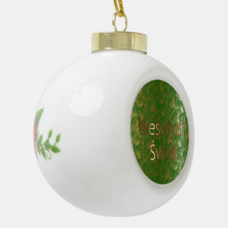 Polish Christmas Poinsettia Ceramic Ball Ornament