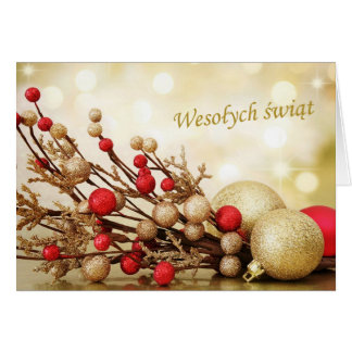 Polish Christmas - red and gold baubles Cards