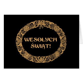 Polish Christmas Wreath Gold-effect, Black Card
