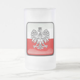 Polish Coat of arms Frosted Glass Beer Mug