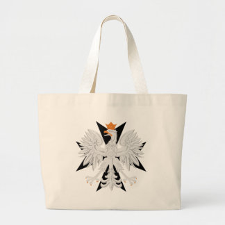 Polish Eagle Black Maltese Cross Large Tote Bag