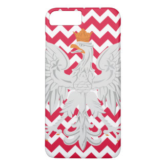 Polish Eagle Red and White Chevron Pattern iPhone 7 Plus Case