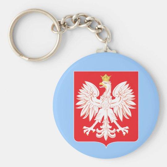 Polish Eagle Red Shield Key Ring Basic Round Button Key Ring
