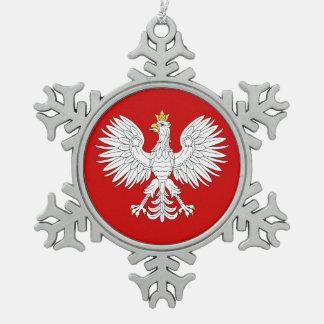 Polish Eagle Snowflake Pewter Christmas Ornament