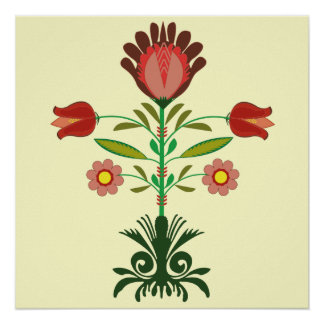 Polish Embroidery Flowers Pattern, Poster