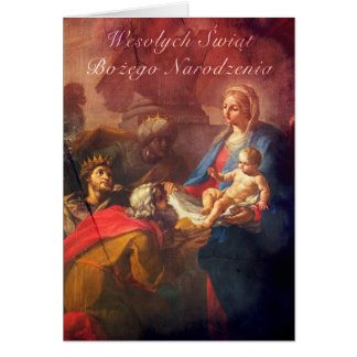 Polish/English Christmas Card - Adoration (Large)