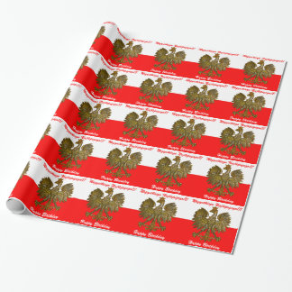 Polish Flag colors with Eagle Birthday Wrapping Paper