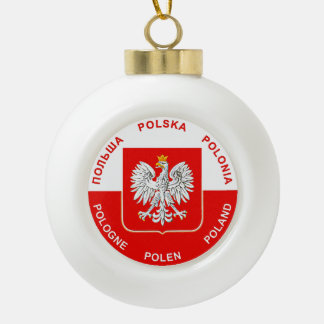 Polish Flag colors with Eagle Christmas Ornament
