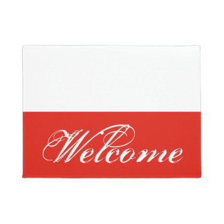 Polish flag door mat with custom welcome text
