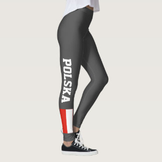 Polish flag leggings for sport fitness yoga