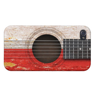 Polish Flag on Old Acoustic Guitar iPhone 4 Cover