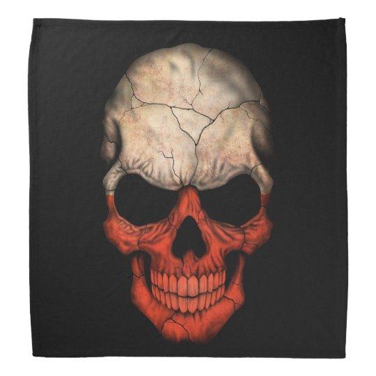 Polish Flag Skull on Black Bandana