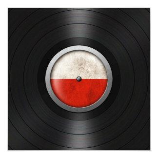 Polish Flag Vinyl Record Album Graphic 13 Cm X 13 Cm Square Invitation Card