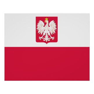 Polish Flag with Eagle Poster