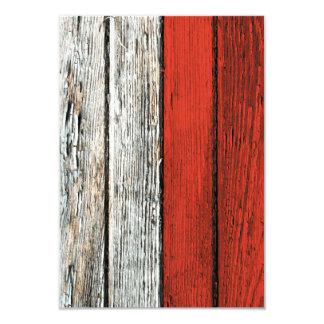 Polish Flag with Rough Wood Grain Effect 9 Cm X 13 Cm Invitation Card