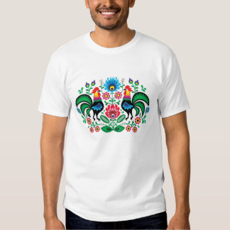 Polish floral pattern with roosters tees