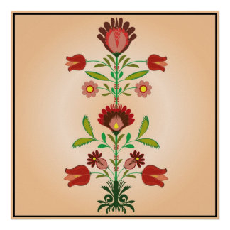 Polish Folk Embroidery Flowers Pattern, Poster
