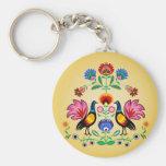 Polish Folk With Decorative Floral & Cockerels Basic Round Button Key Ring
