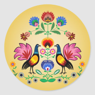 Polish Folk With Decorative Floral & Cockerels Round Sticker