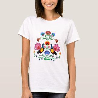 Polish Folk With Decorative Foral & Cockerels, T-Shirt
