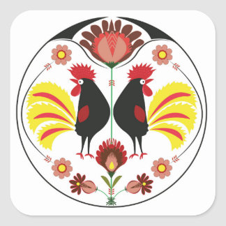 Polish Folk With Decorative Roosters, Sticker
