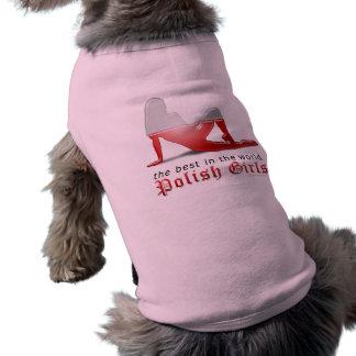 Polish Girl Silhouette Flag Pet Tee Shirt