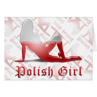 Polish Girl Silhouette Flag Greeting Card