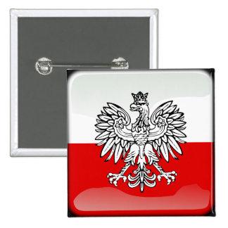 Polish glossy flag 15 cm square badge