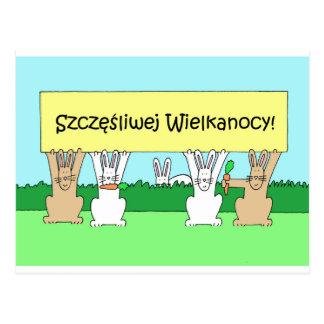 Polish Happy Easter Bunnies Postcard