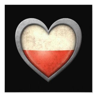 Polish Heart Flag with Metal Effect 13 Cm X 13 Cm Square Invitation Card