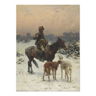 Polish Hunter on Horseback 14 Cm X 19 Cm Invitation Card