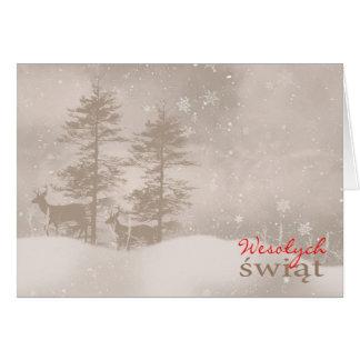 Polish Language Happy Holidays Stylish Christmas Greeting Card