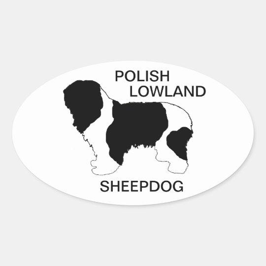 polish lowland sheepdog colour silhouette oval sticker