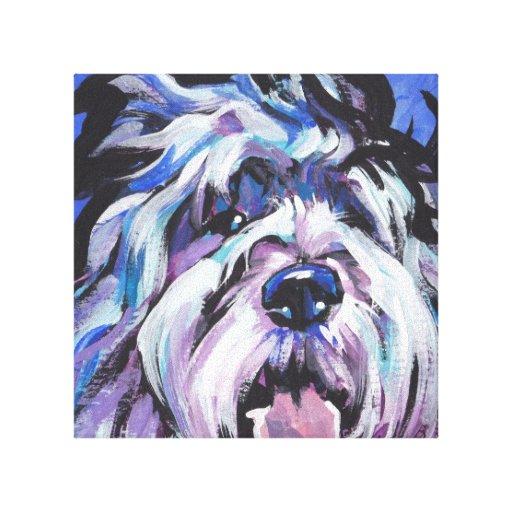 Polish Lowland Sheepdog pop art wrapped canvas Canvas Prints