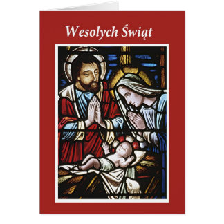 Polish Merry Christmas, Stained Glass, Religious Card