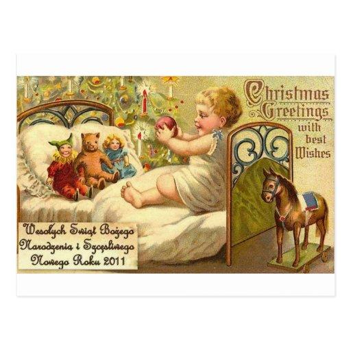 POLISH MERRY CHRISTMAS WESOLYCH SWIAT POST CARD