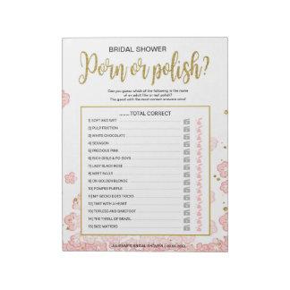 Polish Nail Cheap Hens Party Pink Floral Game Notepad