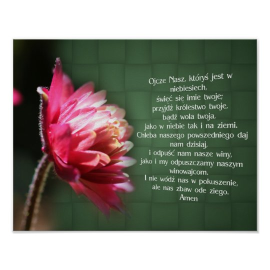 Polish Our Father Lord's Prayer Flower Religious Poster