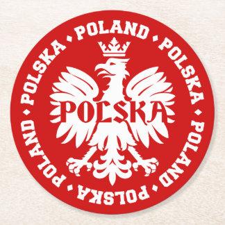 Polish Polska Eagle Emblem Round Paper Coaster