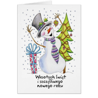 Polish - Snowman - Happy Snowman - Wesołych świąt Card