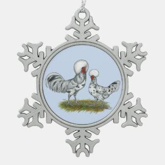 Polish Splash Chickens Snowflake Pewter Christmas Ornament