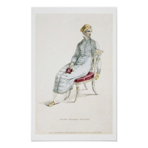 Polish walking pelisse, fashion plate from Ackerma Poster