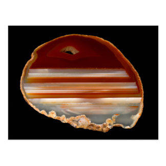 Polished Agate Slice Photo on Black Postcard