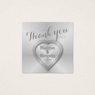 Polished Metal Modern Wedding Thank You Square Business Card