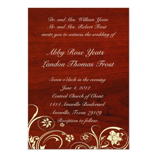 Polished Wood Old Lace Wedding Invitation